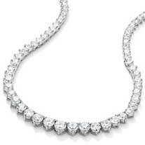 26.23 TCW Round Cubic Zirconia Silvertone Eternity Necklace 16""