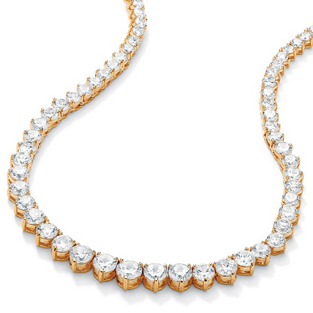 "26.23 TCW Round Cubic Zirconia 14k Gold-Plated Eternity Necklace 16"" at PalmBeach Jewelry"