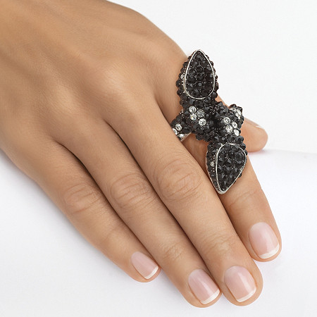 Black and White Crystal Bypass Stretch Ring in Silvertone at PalmBeach Jewelry