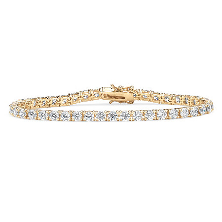 "10.75 TCW Round Cubic Zirconia 18k Gold-Plated Tennis Bracelet 7.5"" at PalmBeach Jewelry"
