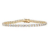 "10.75 TCW Round Cubic Zirconia 18k Gold-Plated Tennis Bracelet 7.5"""