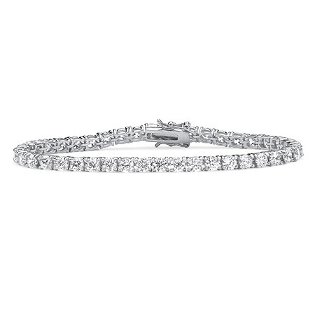"Round Cubic Zirconia 10.75 TCW Tennis Bracelet Platinum-Plated 7.5"" at PalmBeach Jewelry"