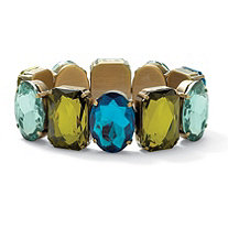Emerald-Cut Aqua and Green Crystal Bracelet in Antiqued Yellow Gold Tone 7
