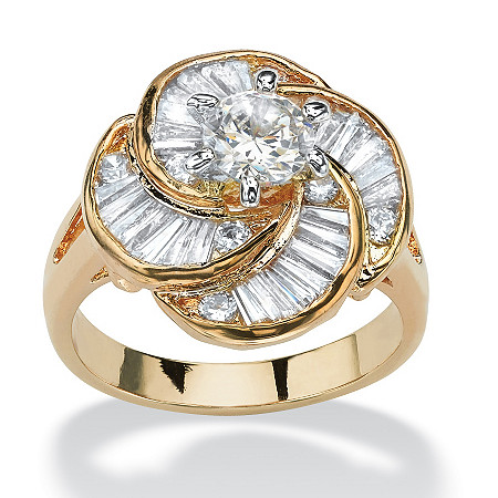 6.76 TCW Round Cubic Zirconia 14k Gold-Plated Cocktail Ring at PalmBeach Jewelry