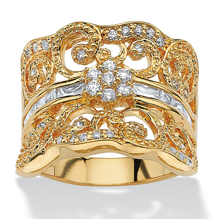 1.21 TCW Round Cubic Zirconia Concave Scroll Ring 18k Yellow Gold-Plated at PalmBeach Jewelry