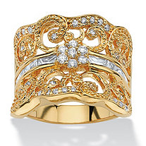 1.21 TCW Round Cubic Zirconia Concave Scroll Ring 18k Yellow Gold-Plated