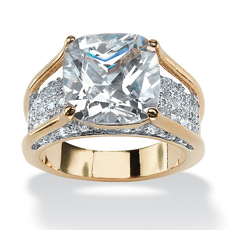 4.88 TCW Cushion-Cut White Cubic Zirconia 18k Gold-Plated Engagement Pave Bridge Ring at PalmBeach Jewelry