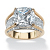 Related Item 4.88 TCW Cushion-Cut White Cubic Zirconia 18k Gold-Plated Engagement Pave Bridge Ring