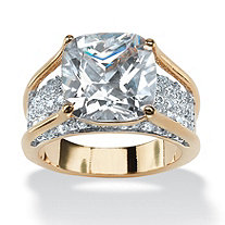 4.88 TCW Cushion-Cut White Cubic Zirconia 18k Gold-Plated Engagement Pave Bridge Ring