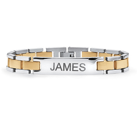 Men's Two-Tone Bar-Link Personalized I.D. Bracelet in Gold Ion-Plated Stainless Steel 8 1/4