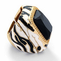 Black Crystal Enamel Zebra Expandable Stretch Ring in Yellow Gold Tone