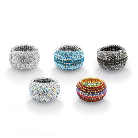 Five-Pair Set of Multicolor Crystal Stretch Rings in Black Rhodium-Plated, Gold Tone and Silvertone at PalmBeach Jewelry