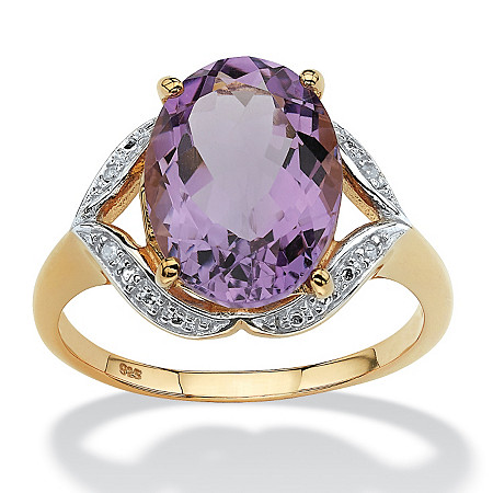 5.20 TCW Oval-Cut Genuine Purple Amethyst with Diamond Accents 18k Gold over Sterling Silver Ring at PalmBeach Jewelry