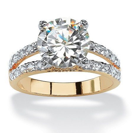 4.42 TCW Round Cubic Zirconia 14k Gold-Plated Engagement Anniversary Split-Shank Ring at PalmBeach Jewelry