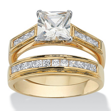 2.92 TCW Princess-Cut Cubic Zirconia 14k Yellow Gold-Plated Bridal Engagement Ring Wedding Band Set at PalmBeach Jewelry