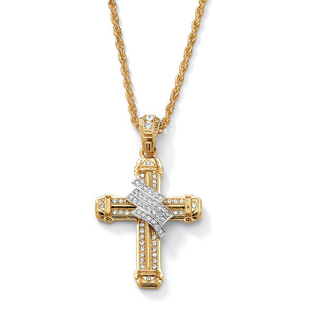 "Men's Crystal-Wrapped Cross Pendant and Chain in Yellow Gold Tone 24"" at PalmBeach Jewelry"
