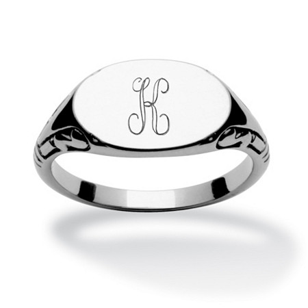 Stainless Steel Personalized I.D. Oval-Shaped Initial Ring at PalmBeach Jewelry