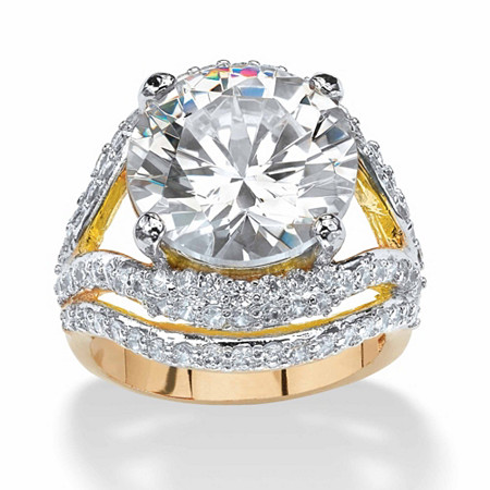 9.88 TCW Round Cubic Zirconia 14k Gold-Plated Engagement Anniversary Double Split-Shank Ring at PalmBeach Jewelry