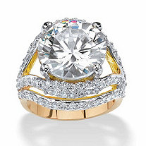 SETA JEWELRY 9.88 TCW Round Cubic Zirconia 14k Gold-Plated Engagement Anniversary Double Split-Shank Ring