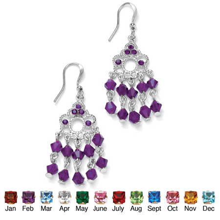 Round Birthstone Silvertone Chandelier Earrings at PalmBeach Jewelry