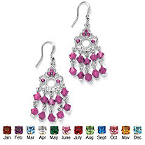 Round Birthstone Silvertone Chandelier Earrings