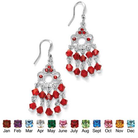 Round Birthstone Silvertone Chandelier Earrings at PalmBeach Jewelry