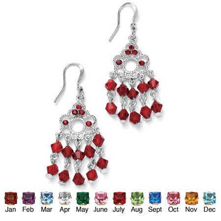 "Round Birthstone Chandelier Earrings in Silvertone 1.75"" at PalmBeach Jewelry"