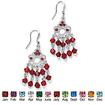 Round Birthstone Chandelier Earrings in Silvertone 1.75""