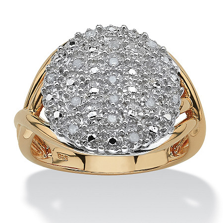 1/7 TCW Round Diamond Pave 18k Gold over Sterling Silver Split-Shank Ring at PalmBeach Jewelry
