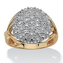 1/7 TCW Round Diamond Pave 18k Gold over Sterling Silver Split-Shank Ring