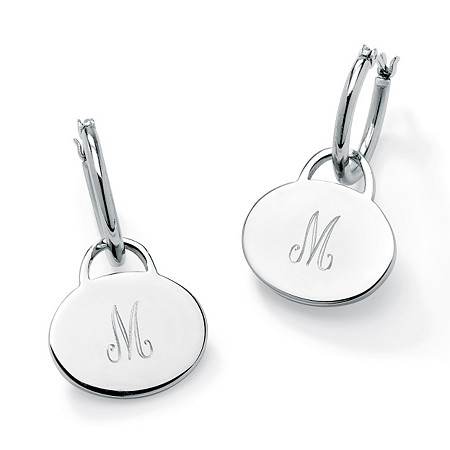 "Stainless Steel Personalized Initial Charm Drop Hoop Earrings (1"") at PalmBeach Jewelry"
