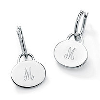 "Stainless Steel Personalized Initial Charm Drop Hoop Earrings (1"")"