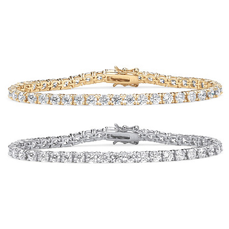 Round Cubic Zirconia Two-Tone Tennis Bracelet 2-Piece Set 21.50 TCW in 18k Gold-Plated and Platinum-Plated 7.5