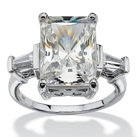 11.93 TCW Emerald-Cut Cubic Zirconia Platinum over Sterling Silver Bridal Engagement Cutout Ring at PalmBeach Jewelry