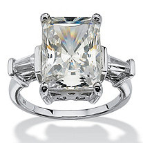 SETA JEWELRY 11.93 TCW Emerald-Cut Cubic Zirconia Platinum over Sterling Silver Bridal Engagement Cutout Ring