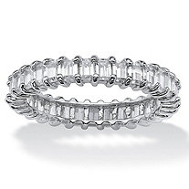 SETA JEWELRY 3 TCW Baguette-Cut Cubic Zirconia Stackable Eternity Band in Platinum over .925 Sterling Silver
