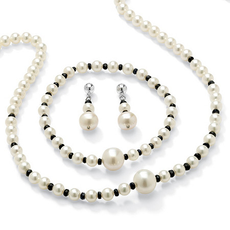 2.25 TCW Genuine Sapphire and Cultured Freshwater Pearl Necklace, Bracelet and Earrings Set at PalmBeach Jewelry
