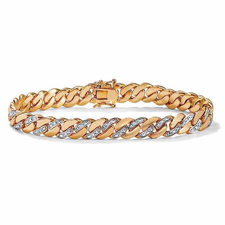 Men's Diamond Accent Curb-Link Bracelet 18k Yellow Gold-Plated 8.5