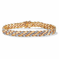 "Men's Diamond Accent Curb-Link Bracelet 18k Yellow Gold-Plated 8.5"" (9mm)"