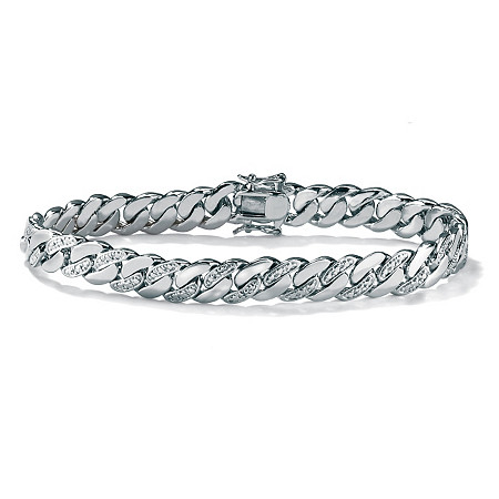"Men's Diamond Accent Curb-Link Bracelet Platinum-Plated 8.5"" (9mm) at PalmBeach Jewelry"