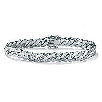 "Men's Diamond Accent Curb-Link Bracelet Platinum-Plated 8.5"" (9mm)"