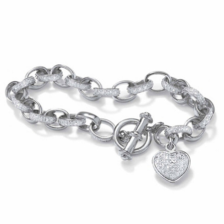 Diamond Accent Oval-Link Heart Charm Bracelet Platinum-Plated 7 1/4