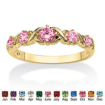 "Round Birthstone 14k Gold-Plated ""X & O"" Stackable Ring"