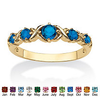 Round Simulated Birthstone 14k Gold-Plated