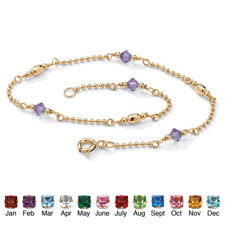 Birthstone Beaded Ankle Bracelet in 14k Gold over .925 Sterling Silver at PalmBeach Jewelry