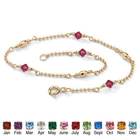 Simulated Birthstone Beaded Ankle Bracelet in 14k Gold over .925 Sterling Silver at PalmBeach Jewelry