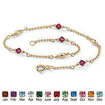 Simulated Birthstone Beaded Ankle Bracelet in 14k Gold over .925 Sterling Silver