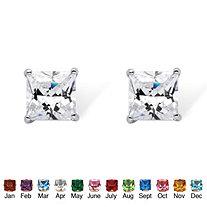 Princess-Cut Birthstone Stud Earrings in Sterling Silver