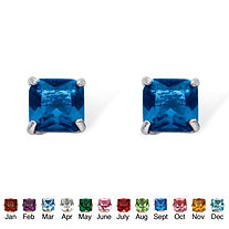 Princess-Cut Birthstone Stud Earrings in Sterling Silver