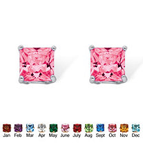 Princess-Cut Birthstone Sterling Silver Stud Earrings